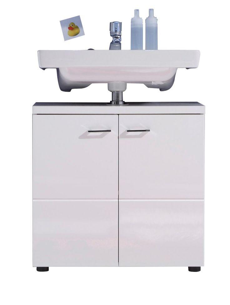 trendteam NL30101 Bad Waschbeckenunterschrank weiß Nachbildung mit weißen Hochglanz Tiefziehfronten, BxHxT 65x63x35 cm