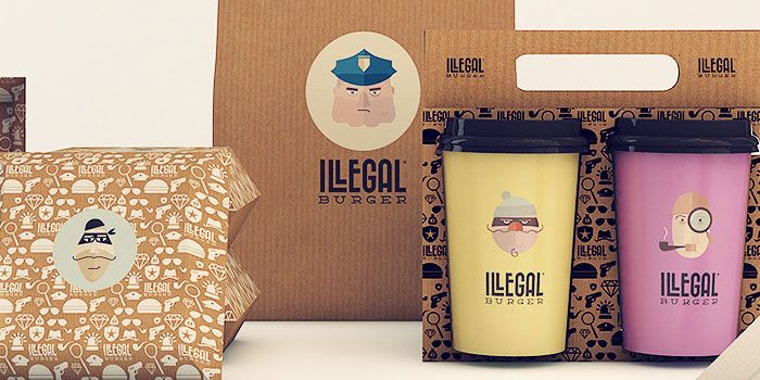 "Check out another beautifully rendered pieces for Illegal Burger, a burger joint in Oklahoma by Isabella Rodriguez.   ""We created a visual identity full of icons and aesthetic of the world of crime with an amused tone. To this end, we created a texture and fill the elements of visual identity with these creations."""
