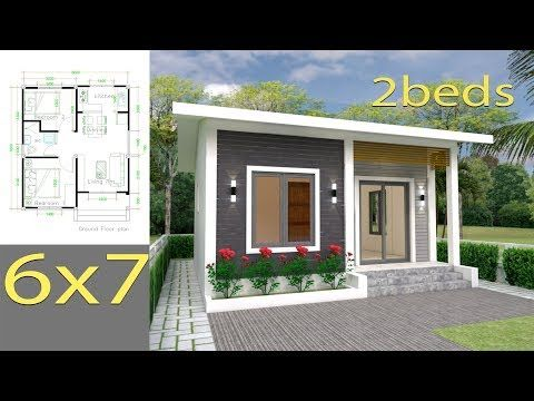 House Plans 6x7m With 2 Bedrooms Full Plansthe House Has Car Parking And Garden Living Room Dining House Plans Bungalow House Design Small House Design Plans