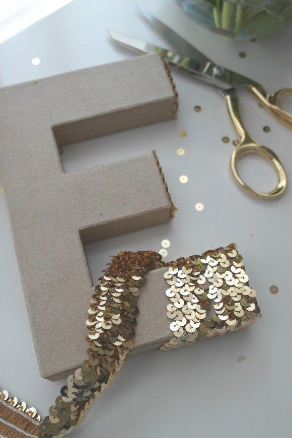 Sequin Monogram Letter DIY