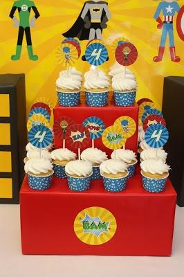 5M Creations: Twin Superhero Party  Superhero cupcake toppers