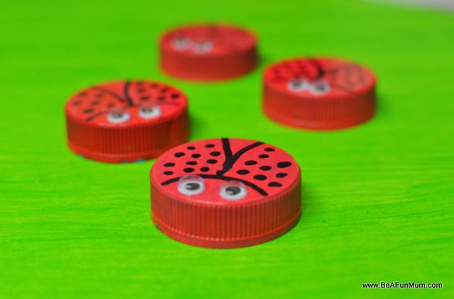 ladybug milk bottle lid craft - Theme your next family movie night with this tip from Southern Outdoor Cinema