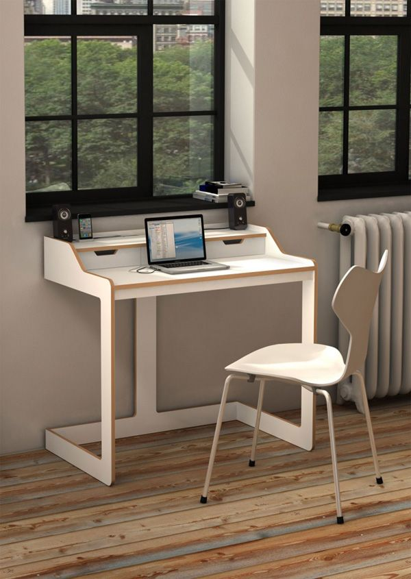 Modern desks for small spaces white wood modern desk for for Home office desks for small spaces