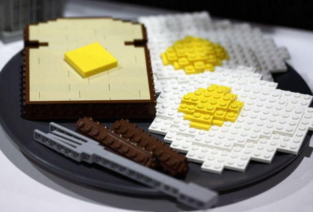 Lego Toast and Eggs - Lego Food Toast et oeuf au plat en Lego