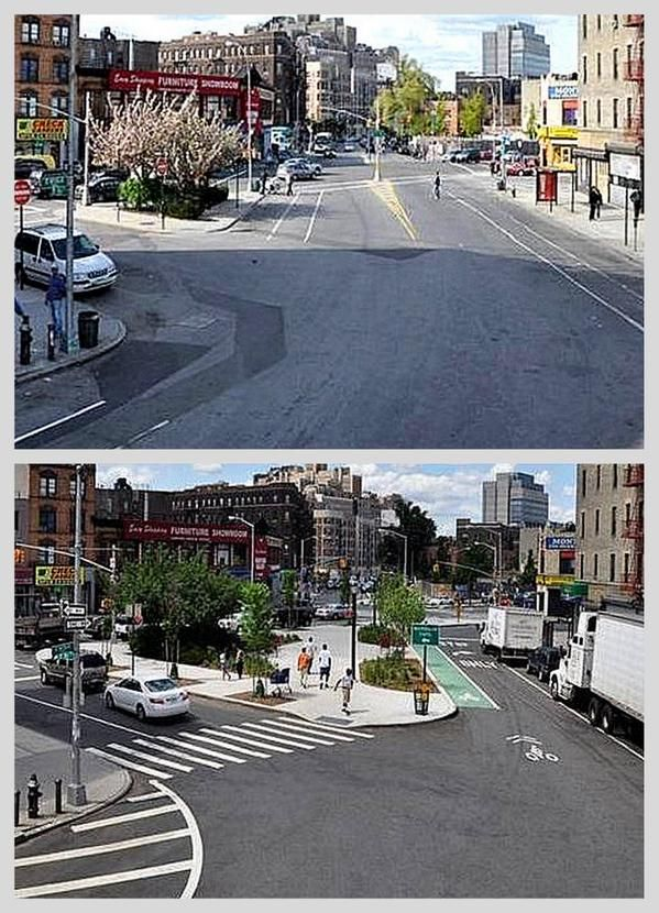 Improved crossing, bike lanes and sidewalks at St Nicholas Ave & 161st St., Washington Heights, NYC.