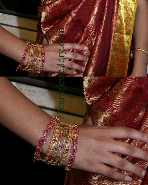 Jewellery Designs: Model Displaying Ruby and Uncut Diamond Bangles