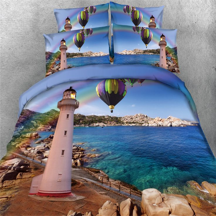 3d hot air balloon blue sea Bedding sets Twin/Queen/Full/Cal king Size Quilt Cover 4/3Pc Kids Girl Bedspreads 500tc bed in a bag #Affiliate