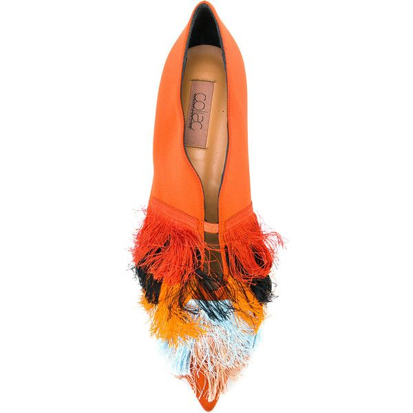 Coliac fringed pointed ballerinas ($945) ❤ liked on Polyvore featuring shoes, flats, orange shoes, pointy-toe flats, leather pointed flats, pointed ballet shoes and orange flats