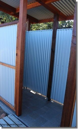Outdoor Shower Stalls - How to design and build an outdoor shower enclosure from the shower floor to the roof.
