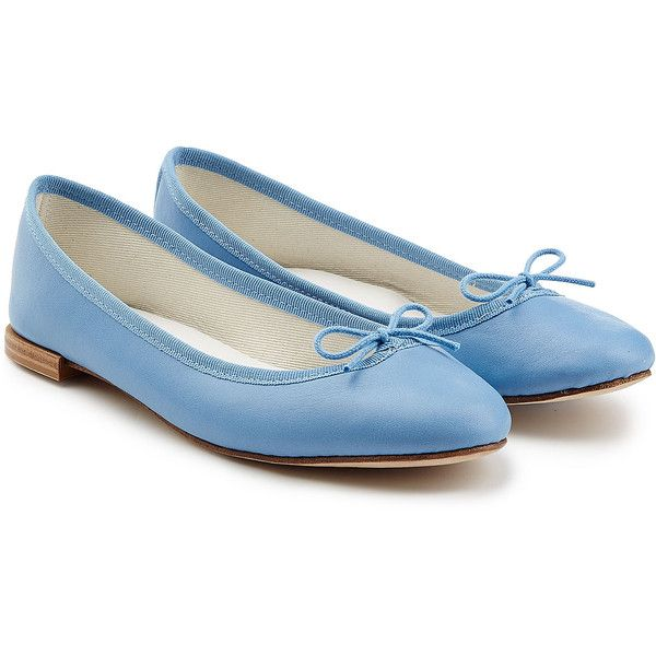 Repetto Cendrillon Leather Ballerinas found on Polyvore featuring shoes, flats, blue, leather shoes, bow flats, leather ballet shoes, blue flats and blue shoes