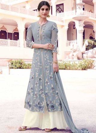 Grey Off White Embroidery Resham Work Georgette Designer Long Anarkali Gown Suit http://www.angelnx.com/Salwar-Kameez/Anarkali-Suits