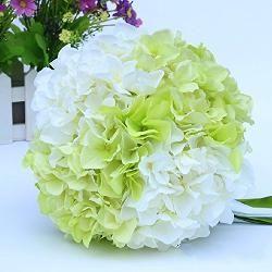 [Braut Blumen Strauß Brautstrauß super schöne Simulation Hortensien Hochzeit Bouquet Hochzeit Ball Blumenstrauß Künstliche Blumen Wedding Bride holding flowers Kunstblumen Seidblume Party Decor, grün]