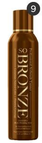 Sobronze Sunfree Self Tanning Spray. It's by far the most natural self tanner and its easy application makes it an ideal product for women on the go. Secret trick: put a bit of baby oil on after spraying for a glowing even look.