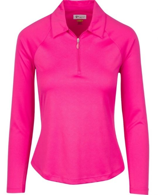 Check out our Pink Taffy Greg Norman Ladies Solar XP 1/4-Zip Wave Long Sleeve Golf Polo Shirt! Find stylish women golf apparel at #lorisgolfshoppe Click through to own this shirt!