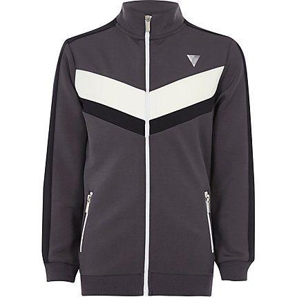 Boys grey block panel zip track jacket £20.00