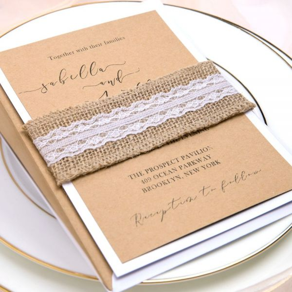 1067222 2953 Thickbox Rustic Cheap Kraft Wedding Invitations With Burlap And Lace Belly Band Count Kraft Wedding Invitations Kraft Wedding Wedding Invitations