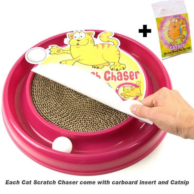 Cat Scratch Chaser-Cats-Cat Toy-Cat Scratcher-Cat Chaser-Kittens-Ball-Fun-Pink