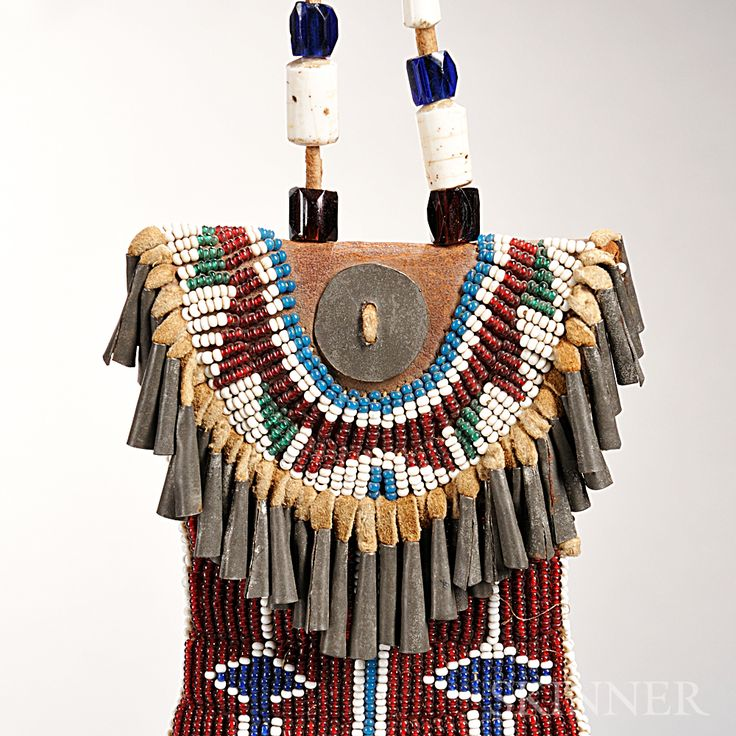 Kiowa beaded leather and hide strike a light pouch sale for Native crafts for sale