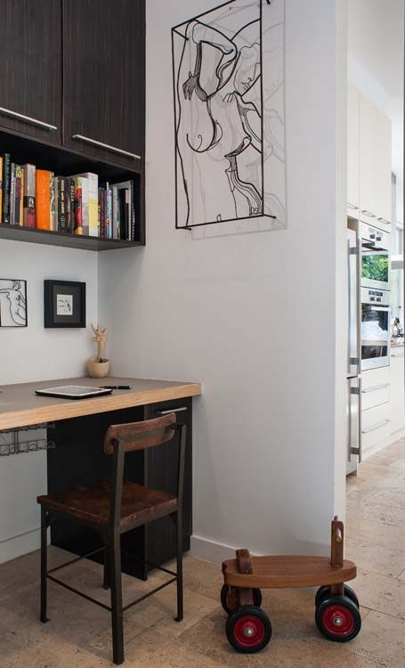 A mix of vintage and modern makes this study nook unique. At Home with Joclyn and Bruce | Home Ideas Magazine