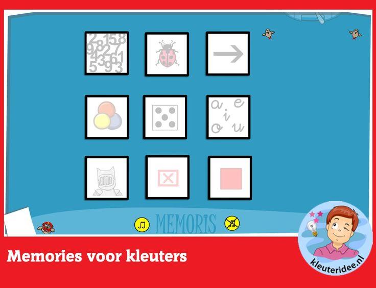 Memories voor kleuters, rekenen met digibord of computer op kleuteridee, Kindergarten memory games for IBW or computer