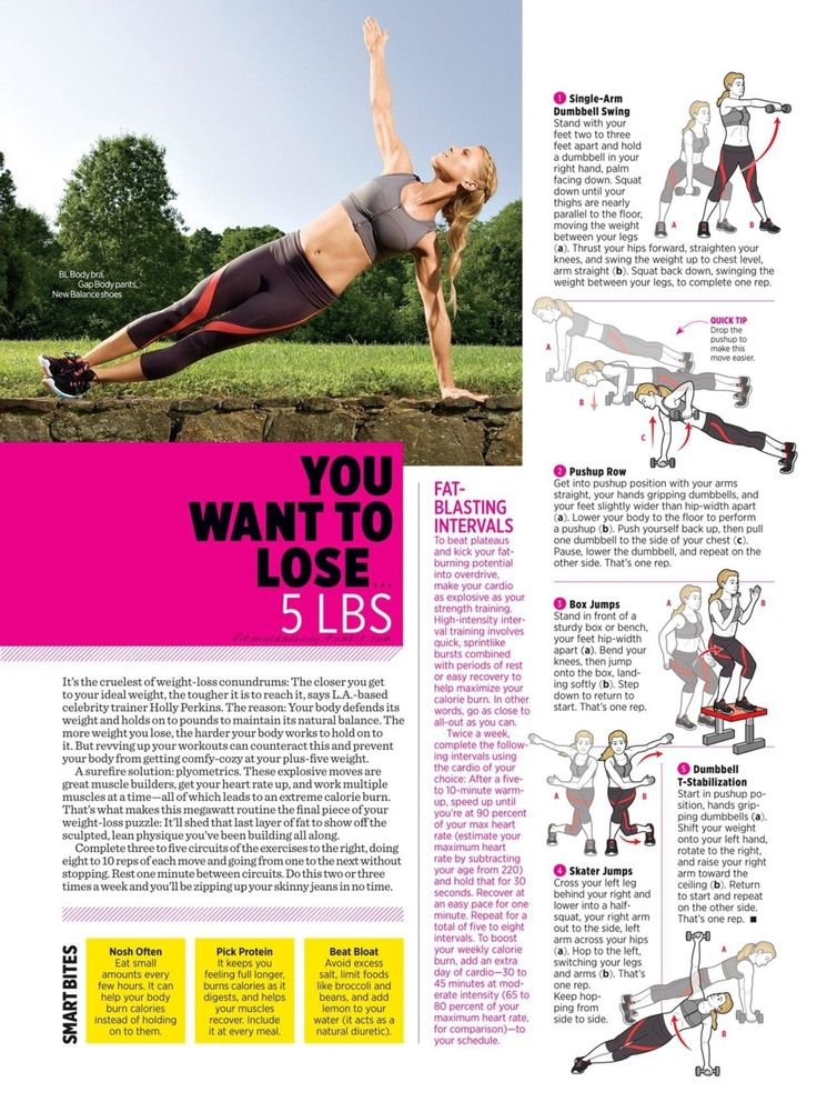 Women's Health:  Single-arm dumbbell swing, pushup row, box jumps, skater jumps, dumbbell t-stabilzation.