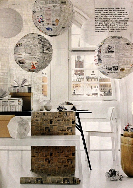 Magazine designed lamps #craft #swedish (ok, that's just cool and inspiring.  Time to make lamps)