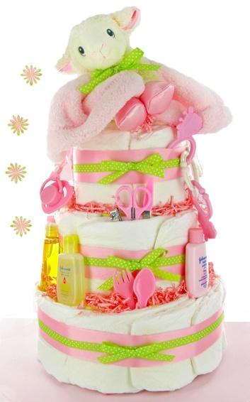 Plush Lamb 3 Tier Girl Diaper Cake - baby shower gift idea easy to make!!
