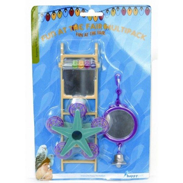 Set vogelspeeltjes, bestaande uit een ladder, een spiegel en een stervormig speeltje. Voorkom verveling, hang diverse speeltjes in de vogelkooi. Zorg voor afwisseling in de speeltjes, zodat zijn zintuigen geprikkeld blijven.