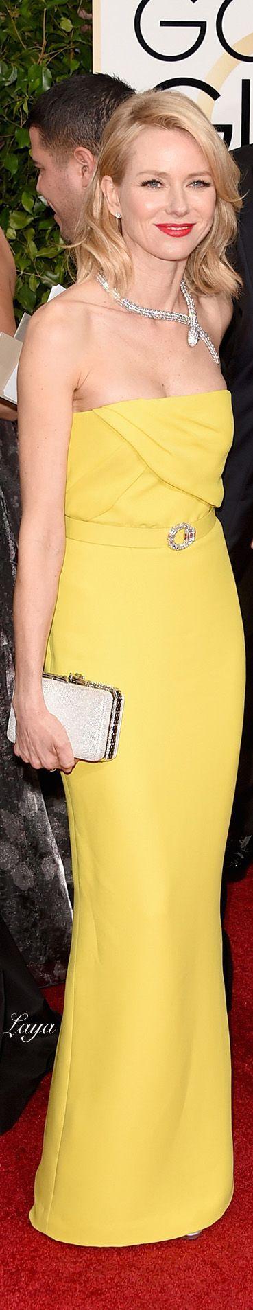 Naomi Watts, in Gucci, with Bulgari jewels and bag.