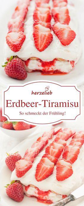 Food - Rezept für ein tolles Dessert mit Erdbeeren.Erdbeer-Tiramisu auf meinem Foodblog herzelieb.