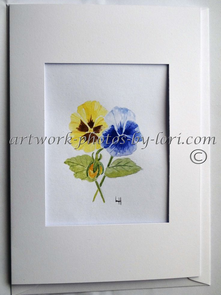 hand painted watercolour notelet of pansies