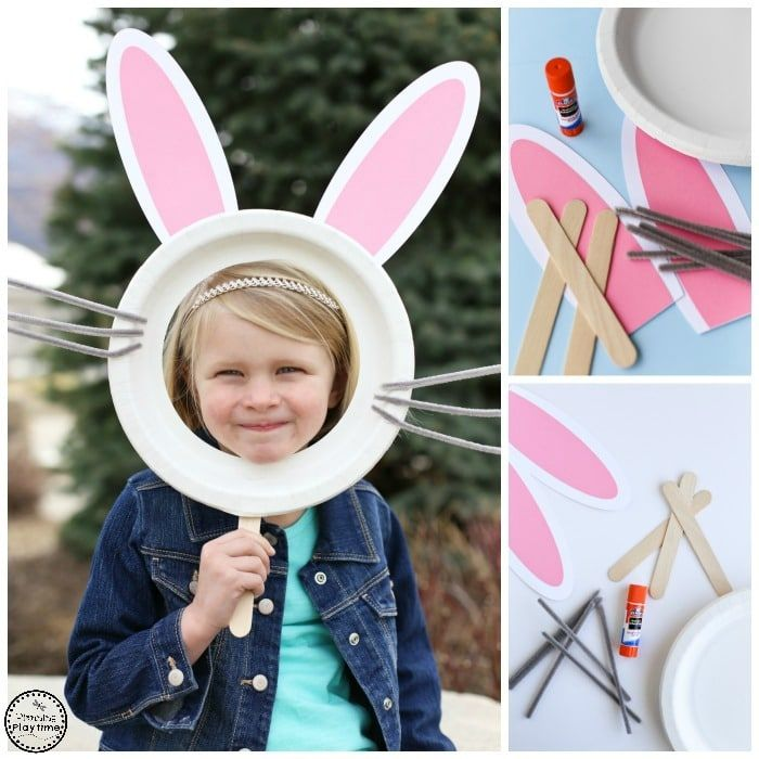 Looking for a Cute Easter Craft? Make this Bunny Mask for Kids with a paper plate, craft stick, and pipe cleaners. Free printable ears template included.