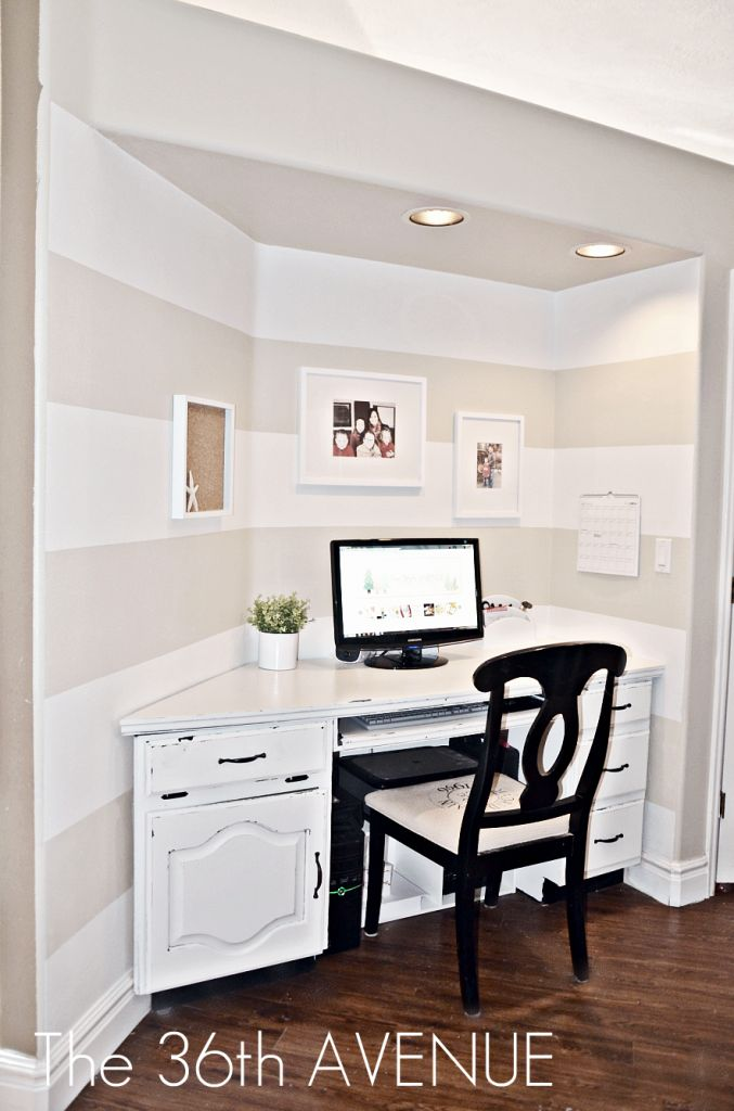 neutral + bright: LOVE IT!  {maybe I should go bold with white stripes above my computer desk in the playroom?}