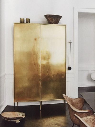 the most gorgeous gold gilded cabinet...