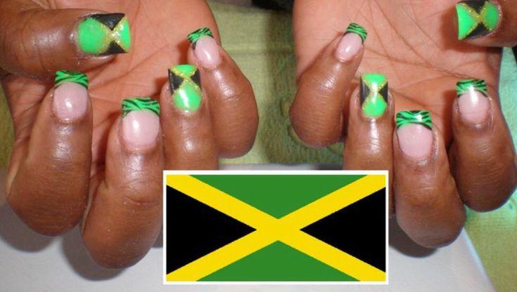 Nails Ongles Gel Jamaïque Vert Jaune Noir