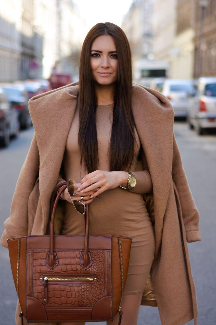 camel bodycon dress & coat. Celine bag.