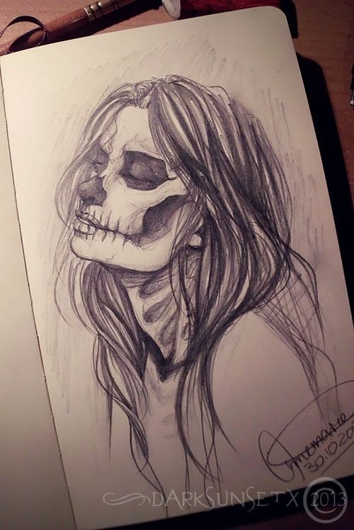 art, bones, drawing, girl, halloween, horror, love…