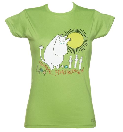 Official Ladies Green Moomins Beware Hattifatteners T-Shirt