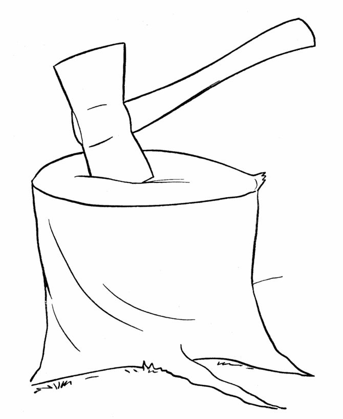 coloring pages kids chores by age | Farm Work and Chores coloring page | Ax on a chopping bloc ...