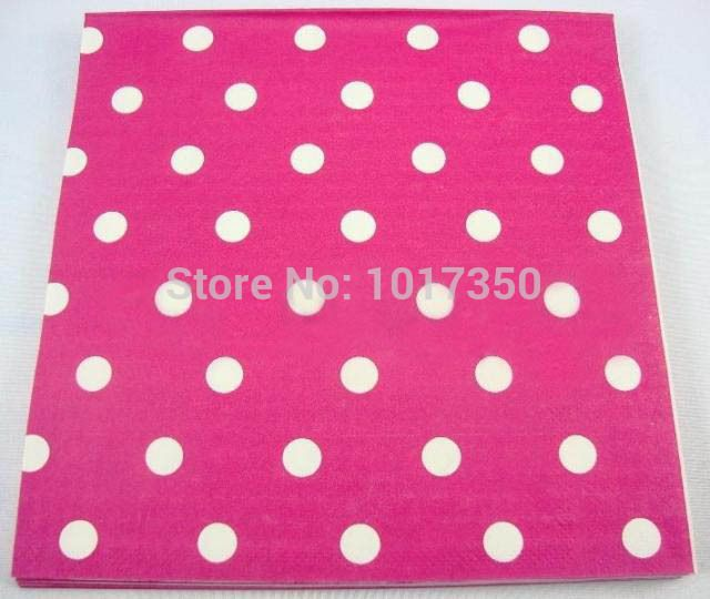 Ну вечеринку салфетка 33 X 33 см ярко розовый в белый горошек шаблон салфетка бумага свадьба ну вечеринку банкет ресторан украшение стола