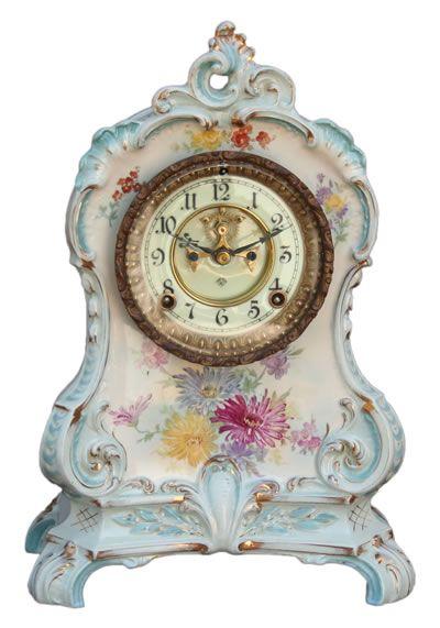 """American Antique Royal Bonn Porcelain Mantle Clock """"La Calle"""", by Ansonia Clock Co. ca.1895."""
