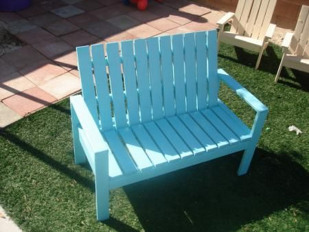 I want to make this!  DIY Furniture Plan from Ana-White.com  This is based on the outdoor easy lounge chair. I made the kids Adirondack chairs and was going to build the bench as well. I actually thought those were a little tricky with the angles and everything so I wanted to try this in kid size. It turned out awesome.