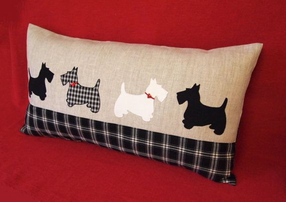 "Pillow 12""x 22"" ( 30x55 cm) . Scottish Terrier Dogs. Applique fabric, 100% linen, cotton,rayon, wool. Black and white. Red hearts buttons."
