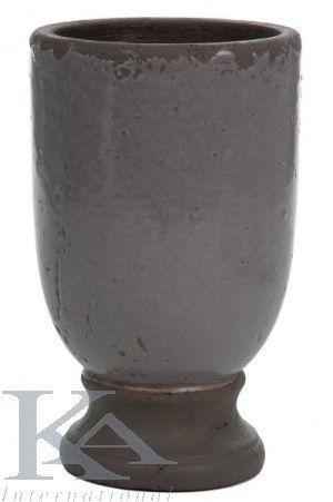 Vaze din ceramica pentru Camera de zi, Dormitoare, Holuri. Vaza ceramica gri rotund in stil cottage, de culoare gri.