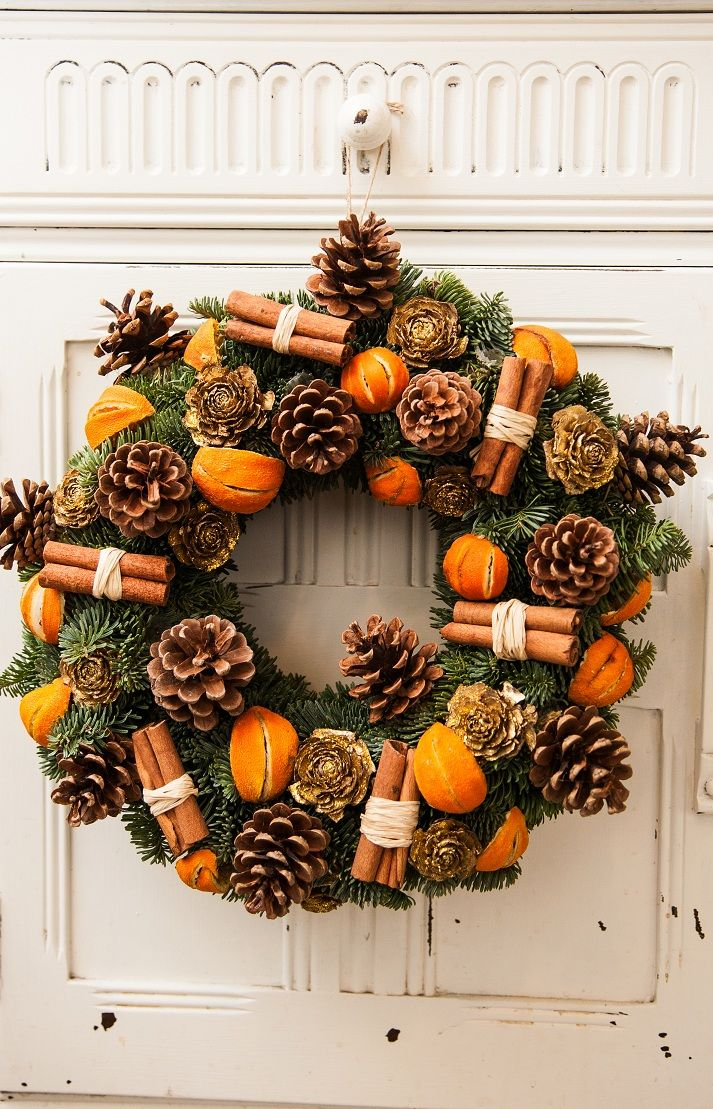 Christmas Door Wreath---I would use red not orange
