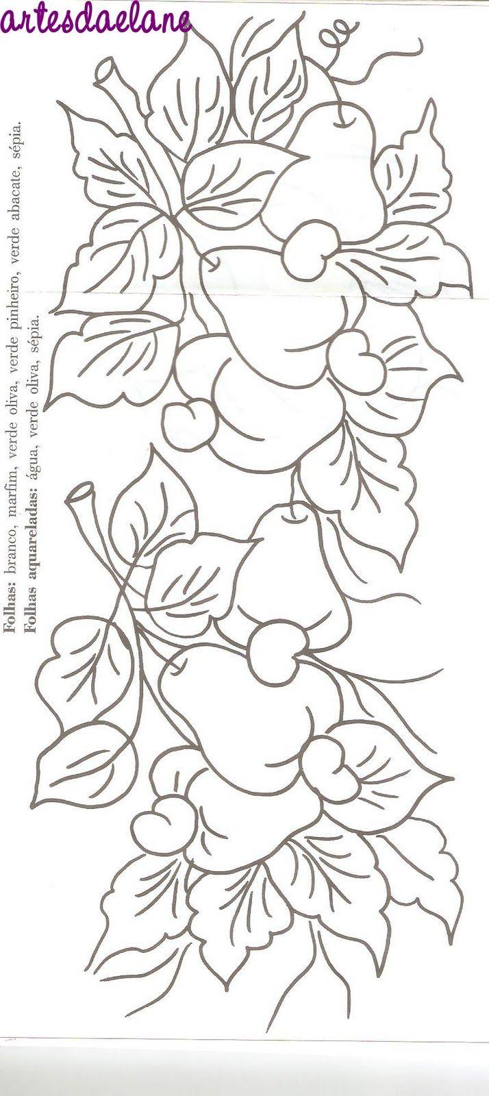 Pano De Prato Pintura Em Tecido Flores E Frutas Rosa E Uvas | Download Gambar