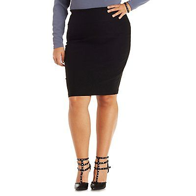 Plus Size Black High-Waisted Bodycon Pencil Skirt - Size 1X