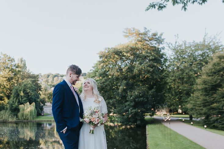 Bride & Groom Portrait | Pink & Gold Summer Wedding at East Riddlesden Hall Barn, Yorkshire | Custom Made Bridal Separates | Blush Bridesmaid Dresses | Next Suits | Laura Calderwoods