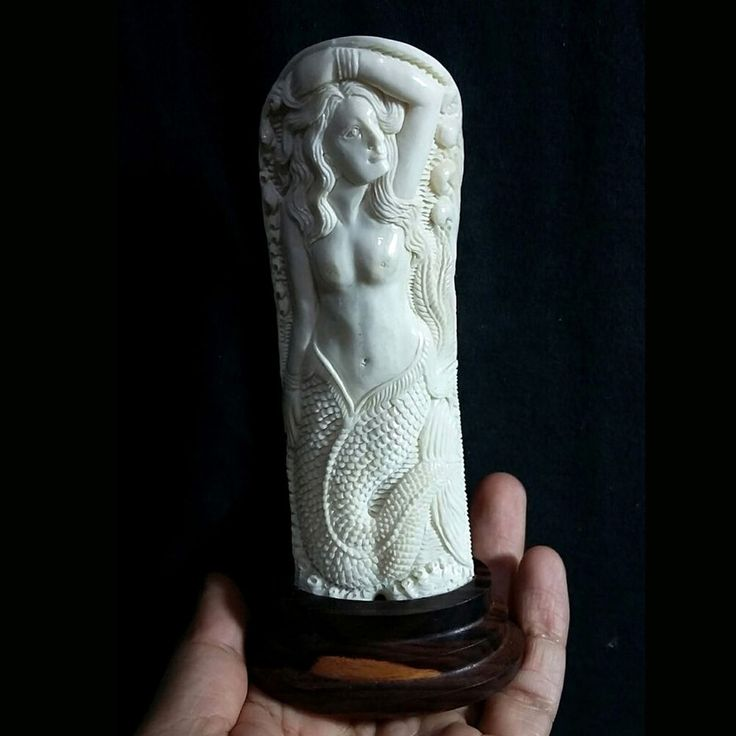 "Hand Carved Mermaid 5"" Natural Buffalo Bone Carving Statue Free Wooden Base"