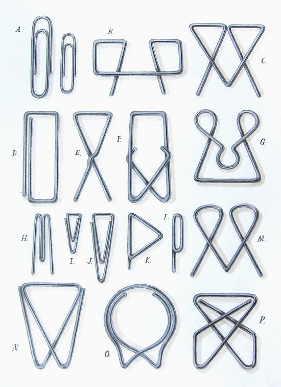 Lovely sketch by Mrs Easton on the Mrs Easton blog summarising many of the paper clip designs found on this fabulous history of stationery site: http://www.officemuseum.com/paper_clips.htm